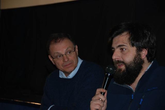 Il regista Matteo Oleotto con il giornalista, Franco Montini, al Festival delle Cerase
